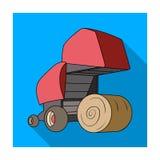 Balas de heno redondas Maquinaria agrícola moderna para de los círculos del heno y de balanceo Solo icono de la maquinaria agríco stock de ilustración