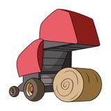 Balas de heno redondas Maquinaria agrícola moderna para de los círculos del heno y de balanceo Solo icono de la maquinaria agríco libre illustration