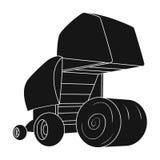 Balas de heno redondas Maquinaria agrícola moderna para de los círculos del heno y de balanceo Solo icono i de la maquinaria agrí ilustración del vector