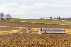 Balas de la paja en el campo de la agricultura Cultivo en la tierra típica del campo fotos de archivo