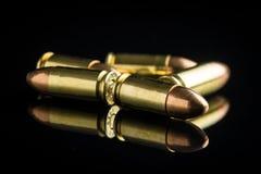 balas de la pistola de 9m m Imagen de archivo libre de regalías