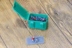 Balas de la ventaja para las armas neumáticas Balas del calibre 4 5 milímetros Fotografía de archivo