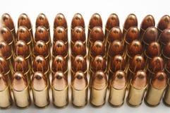 balas de 9m m en fila Foto de archivo libre de regalías