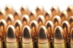 balas de 9m m en fila Fotografía de archivo