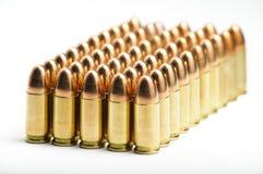 balas de 9m m en fila Foto de archivo