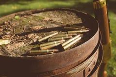 44 balas del calibre y rifle de Winchester Fotografía de archivo