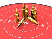 Balas na parte superior do alvo vermelho, munição, munição Fotografia de Stock