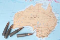 Balas no mapa de Austrália Fotografia de Stock