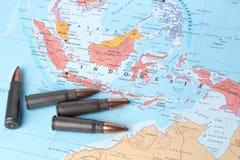 Balas no mapa de Indonésia Imagem de Stock