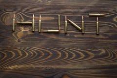 Balas para caçar na madeira fotografia de stock