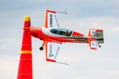 Balashikha, Moscow region, Russia - May 25, 2019: Absolute world champion in aeroplane sports Svetlana Kapanina on sports plane. Extra 330LX RA-1758G performs stock image