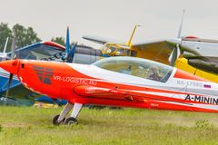 Balashikha, Moscow region, Russia - May 25, 2019: Absolute world champion in the womens competition in aeroplane sports Svetlana. Kapanina in sports plane Extra royalty free stock images