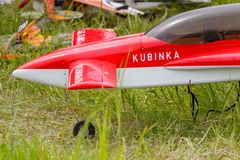 Balashikha, Moscow region, Russia - May 25, 2019: Radio controlled model of sports aircraft closeup on a green lawn. Aviation. Festival Sky Theory and Practice stock photo