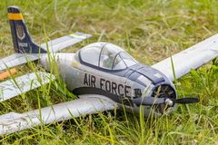Balashikha, Moscow region, Russia - May 25, 2019: RC model of fighter of american air force during the second world war closeup on. A green lawn. Aviation stock photography
