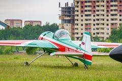 Balashikha, Moscow region, Russia - May 25, 2019: Russian aerobatic aircraft Yakovlev YAK-55M RA-2935G parked on a green grass of. Airfield Chyornoe at Aviation stock photo