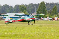 Balashikha, Moscow region, Russia - May 25, 2019: Russian aerobatic aircraft Yakovlev YAK-55M RA-2935G preparing for takeoff on. Chyornoe airfield at Aviation stock photo