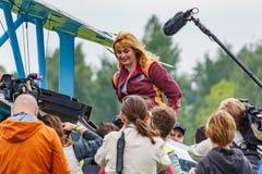 Balashikha, Moscow region, Russia - May 25, 2019: Russian pilot absolute world champion in aeroplane sports Svetlana Kapanina. Communicates with media at stock photography