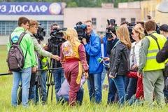 Balashikha, Moscow region, Russia - May 25, 2019: Russian pilot absolute world champion in aeroplane sports Svetlana Kapanina. Communicates with media at royalty free stock photos