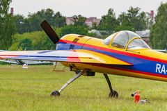 Balashikha, Moscow region, Russia - May 25, 2019: Russian sports and aerobatic aircraft SP-55F RA-2934G parked on a green grass of. Airfield Chyornoe at royalty free stock image