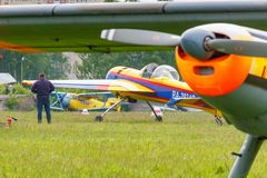 Balashikha, Moscow region, Russia - May 25, 2019: Russian sports and aerobatic aircraft SP-55F RA-2934G parked on a green grass of. Airfield Chyornoe at royalty free stock photography