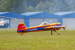 Balashikha, Moscow region, Russia - May 25, 2019: Russian sports and aerobatic aircraft SP-55F RA-2934G preparing for takeoff on. Chyornoe airfield at Aviation stock photos