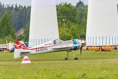 Balashikha, Moscow region, Russia - May 25, 2019: Russian sports and aerobatic aircraft SP-55M RA-2937G preparing for takeoff on. Chyornoe airfield at Aviation stock photos