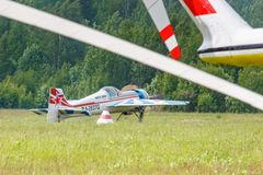 Balashikha, Moscow region, Russia - May 25, 2019: Russian sports and aerobatic aircraft SP-55M RA-2937G preparing for takeoff on. Chyornoe airfield at Aviation stock photography
