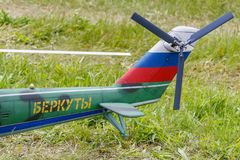 Balashikha, Moscow region, Russia - May 25, 2019: Tail rotor closeup of big scale RC model of attack helicopter MI-24 at aviation. Festival Sky Theory and stock photo