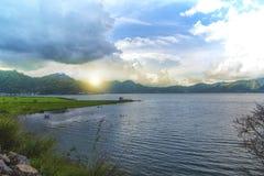balaton匈牙利湖做照片日落 免版税图库摄影