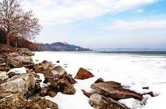 balaton湖tihany时间冬天 免版税库存照片