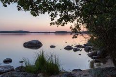 balaton η λίμνη της Ουγγαρίας κάνει το ηλιοβασίλεμα φωτογραφιών Στοκ Φωτογραφία