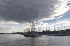balaton ναυσιπλοΐα λιμνών βαρκών στοκ φωτογραφίες