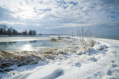 Balaton in de winter Royalty-vrije Stock Fotografie