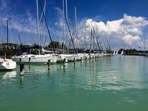 Balaton fured jachtclub, Hongarije Stock Afbeeldingen