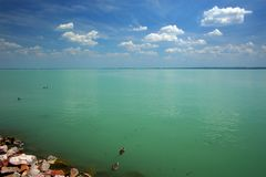 Balaton Lake seen from Balatonfured shore. Lake Balaton  is a freshwater lake in Transdanubian region of Hungary. It is the largest lake in Central Europe, and Stock Photo