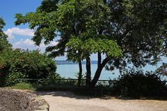 Balaton Węgry Tihany Europejski duży jeziorny 2018 widoku pogodny letni dzień Fotografia Stock