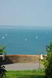 Balaton with white boats Stock Photos