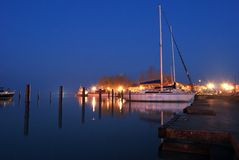 Night at Balaton lake with ships Stock Image