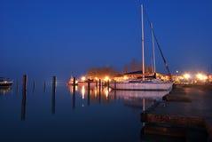Night at Balaton lake with ships Stock Image