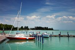 Balatonfured, June 02 2018 - Small ships on the Balaton Lake. Balatonfured marina. Lake Balaton  is a freshwater lake in Transdanubian region of Hungary. It is Stock Image