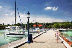Balatonfured, June 02 2018 - Small ships on the Balaton Lake. Balatonfured marina. Lake Balaton  is a freshwater lake in Transdanubian region of Hungary. It is Stock Images