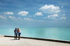 Balatonfured, June 02 2018 - Tourists on Tagore promenade in Balatonfured. Lake Balaton  is a freshwater lake in Transdanubian region of Hungary. It is the Stock Photos