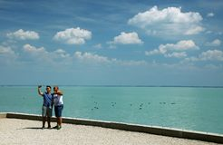 Balatonfured, June 02 2018 - Tourists on Tagore promenade in Balatonfured. Lake Balaton  is a freshwater lake in Transdanubian region of Hungary. It is the Royalty Free Stock Image