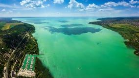 Balatonfuzfo, Hungary - Panoramic aerial skyline view of the Fuzfoi-obol. This view includes Balatonfuzfo, Balatonalmadi, Balatonkenese and yacht marina of stock photos