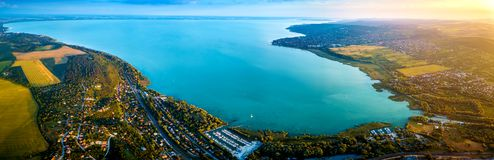 Balatonfuzfo, Hungary - Panoramic aerial skyline view of the Fuzfoi-obol of Lake Balaton. At sunset. This view includes Balatonfuzfo, Balatonalmadi royalty free stock photography