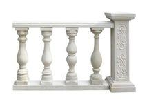 Balaustra di pietra classica con la colonna isolata sopra bianco immagine stock libera da diritti