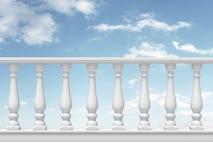 balaustrada branca com a coluna no fundo do céu ilustração do vetor