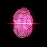 Balayage abstrait d'empreinte digitale Marquez avec des lettres P identification et sécurité Image libre de droits