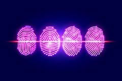 Balayage abstrait d'empreinte digitale Passez avec l'empreinte digitale identification illustration de vecteur