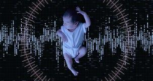 Balayage biométrique de Futursitic d'un bébé nouveau-né clips vidéos